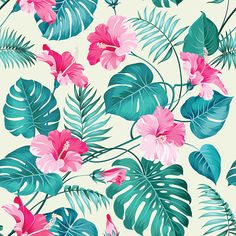 Illustration of Seamless tropical flower. Blossom flowers for seamless pattern background. vector art, clipart and stock vectors. Tropical Flowers, Motif Tropical, Tropical Art, Tropical Pattern, Tropical Leaves, Flowers Nature, Exotic Flowers, Lilies Flowers, Flowers Garden