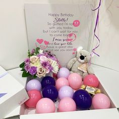 Balloon Box, Balloon Gift, Personalized Balloons, Personalised Box, Surprise Box Gift, All The Way, Have A Great Day, Happy Birthday, Flowers