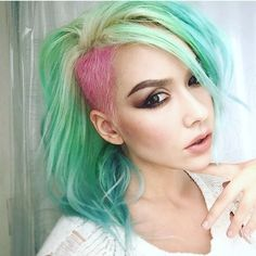 Mint Green hair color with Blue hair and Pink hair color by Breanne Little. Undercut Shaved hair instagram.com/hotonbeauty