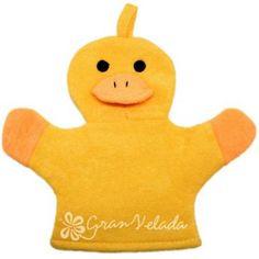 Esponja guante patito amarillo, muy divertido para hacer detalles con niños, les encantará, lo tienes en Gran Velada. #diy