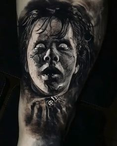 Awesome black and grey realistic tattoo style of Exorcist movie motive done by artist Eliot Kohek Evil Tattoos, Creepy Tattoos, Tatoos, Great Tattoos, Body Art Tattoos, Portrait Tattoos, Scary Paintings, Cute Owl Tattoo, Horror Movie Tattoos