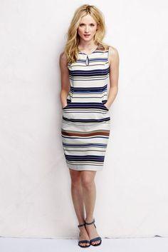 Women's Ponté Keyhole Sheath Dress - Texture Stripe from Lands' End
