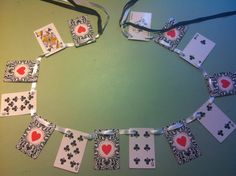 Alice in Wonderland Mad Hatter Tea Party Black Clubs Playing Cards Banner Bunting Hearts