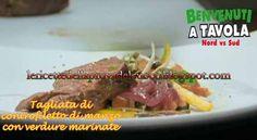 Ricette di Alessandro Borghese: Tagliata di controfiletto di manzo con verdure mar...
