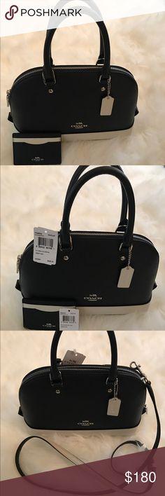 New coach purse! New Coach Purse! Authentic, tags attached! Navy Blue White trim bundle with CC holder. Coach Bags