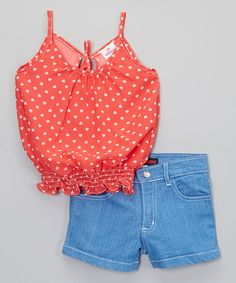 Look at this Pink Heart Chiffon Tank & Denim Shorts - Toddler & Girls on #zulily today!
