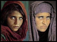"""For 17 years Steve McCurry, photographer, tried to find the mystery """"Afghan girl"""" again. In he succeeded—and again captured her on film (right). Photograph by Steve McCurry Steve Mccurry, Beautiful Eyes, Beautiful People, Beautiful Women, National Geographic Cover, Afghan Girl, People Of The World, Interesting Faces, Green Eyes"""