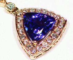 NEW 2.03CT 14KT ROSE GOLD NATURAL AAA WHITE DIAMOND TANZANITE RETRO NECKLACE  #Handmade #Pendant