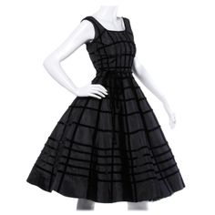 Vintage 1950s 50s Black Velvet + Taffeta Cocktail Party Dress with Full Sweep | From a collection of rare vintage evening dresses at http://www.1stdibs.com/fashion/clothing/evening-dresses/