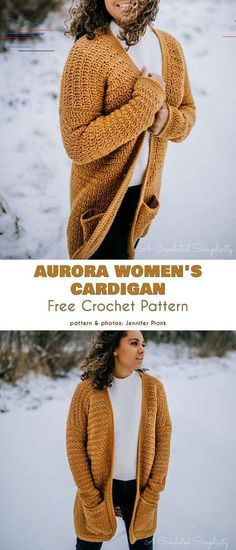 Longer Cardigan Free Crochet Patterns - Crochet wish list - Longer Cardigan Free Crochet Patterns Aurora Women's Cardigan Free Crochet Pattern. The Aurora Women's Cardigan is a long, casual sweaters you can wear every day, with any clothes. Cardigan Sweaters For Women, Cardigans For Women, Casual Sweaters, Women's Cardigans, Crochet Gratis, Free Crochet, Crochet Summer, Popular Crochet, Crochet Woman