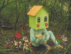 photo by Justin Wallis, Homebodies series- writing prompt....what if your head were shaped like a house!?!?!