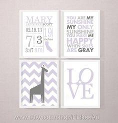 personalized birth print, baby subway art, birth statistics announcement wall decor baby stats art, nursery decor birth announcement set of4 by PinkeeArt, $29.00