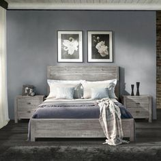 Solid wood bed frame bedroom designs 16 ideas for 2019 Rustic Bedroom Furniture, Rustic Bedding, Home Decor Bedroom, Wood Furniture, Bedroom Sets, Furniture Stores, Furniture Online, Furniture Outlet, Furniture Ideas