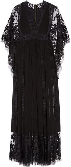 Elie Saab Lace-Paneled Chiffon Gown