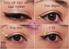 How-to: Easy Cat-Eyes Using Liquid Eyeliner (3 Steps, Promise!) #cateyes #howto #makeup