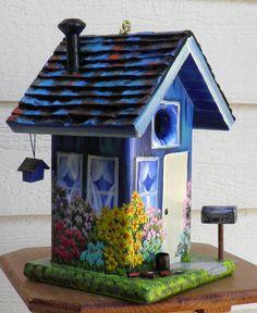 Environmentally Friendly Blue Birdhouse Hand by BirdhouseBlessings