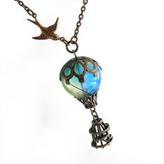 Bird and Balloon - Hot Air Balloon Airship Pendant Necklace Jewelry Jewellery. $45.00, via Etsy.