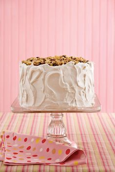 Pecans, raisins, flaked coconut, and of course, a little bourbon, top this classic Southern layer cake.  Recipe: Lane Cake
