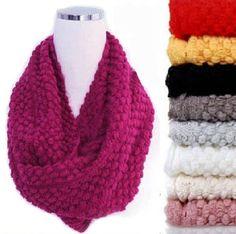 2e219e4b98f New Winter Warm Infinity 2 Circle Cable Knit Cowl Neck Long Women Scarf  Shawl Knitting Wool