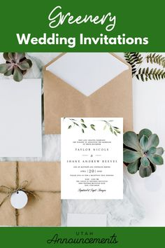 Achieve your dream greenery-inspired wedding with this invitation. Check out our website to create one with us today! Burlap Wedding Invitations, Wedding Invitation Trends, Invites, Rustic Wedding Inspiration, Wedding Announcements, Greenery, Place Card Holders, Website, Inspired