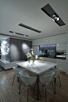 Modern, elegáns garzon - nappali, konyha, étkező, üvegfallal leválasztott háló