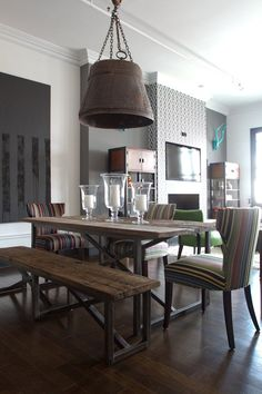 """10 Tell-Tale Signs Your Home Style is: Industrial  The table and bench are nice, but are too """"rough"""" and not """"refined"""" enough for my tastes."""