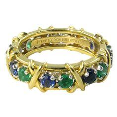 TIFFANY, SCHLUMBERGER Emerald, Sapphire & Gold Band, ca. 1960