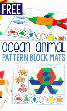 Kids love these pattern block mats! Kids love these pattern block mats!,vorschulprogramm handhaltung Free printable zoo animal pattern block activity for preschoolers. Grab these free printable pattern block mats for preschool zoo animal themes. Kindergarten Math Activities, Free Preschool, Preschool Printables, Preschool Ocean Activities, Preschool Learning, Educational Activities, Free Printables, Tangram, Ocean Themes