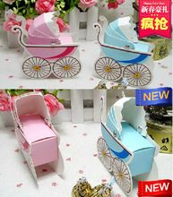 50pcs/lot Baby stroller baby shower favors candy box,baby birthday party gift box and Chocolate Box,lovely creative cart box (China (Mainland))