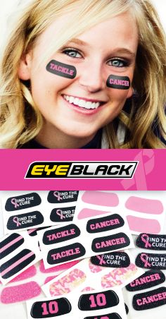 Breast Cancer Awareness Eye Black!  Designs starting at just 99 cents per pair.  Glitter Eye Black also included.  https://www.eyeblack.com/pink.html/