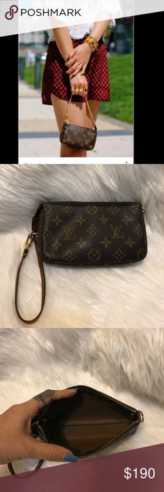✨✨louis Vuitton mini pochette ✨ ✨beautiful Louis Vuitton mini pochette in monogram print. In good pre own conditions , the leather strap has really dark patina ✨no flaws. ✨ NO TRADE!! Thank you  Louis Vuitton Bags Mini Bags