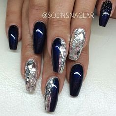 Shattered mirror and blue coffin nails Glam Nails, Classy Nails, Hot Nails, Fancy Nails, Stylish Nails, Hair And Nails, Matte Nails, Fabulous Nails, Gorgeous Nails