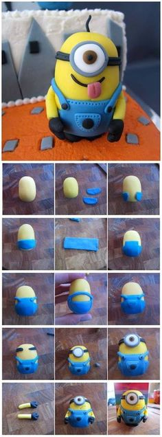 Despicable Me - Fondant Minion, I think this would be cool to do with fimo art clay Fondant Toppers, Fondant Cakes, Fondant Bow, Cupcake Fondant, Cupcake Toppers, Fondant Cake Decorations, Fondant Recipes, Minion Torte, Fondant Minions
