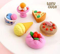 Buy Set of 6 Kawaii Dessert Treat Erasers at Tofu Cute