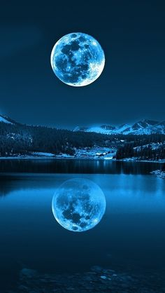 The Blue Moon of 2015 is upon us! A Blue Moon is a second Full Moon in any given month, or a fourth Full seasonal Moon. This second Full Moon of July will not only have various paranormal repercussi Moon Pictures, Pretty Pictures, Cool Photos, Reflection Pictures, Moon Pics, Amazing Pictures, Full Moon Photos, Ocean Pictures, Night Pictures