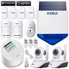 (338.39$)  Know more - http://aihfr.worlditems.win/all/product.php?id=32764911093 - KERUI W2 Wifi GSM PSTN three-in-one home sucerity alarm system+solar siren linkage wifi ip camera app remote controller