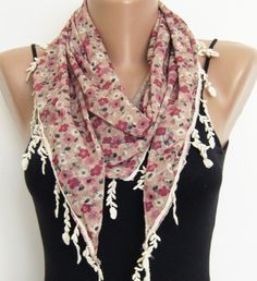 Summer scarf Floral triangle lace scarf by sascarves on Etsy, $16.50