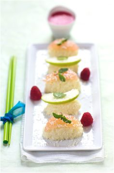 Fruit Sushi, with recipe. It looks stunning and delicate, wonder how it would taste.