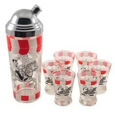Fun Vintage Black White & Red Zebra & Horse Cartoon Carousel Cocktail Shaker & Glasses Set. Barware available at The Hour and TheHourShop.com