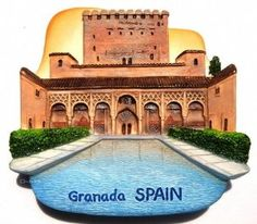 Alhambra Palace Granada Spain, High Quality Resin 3d Fridge Magnet