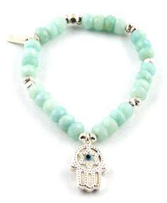 ChloBo Amazonite Hamsa Hand Aqua Charm Bracelet