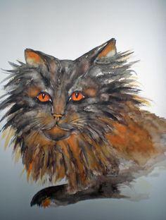 Tusche-Aquarell Owl, Bird, Animals, Watercolor, Painting Art, Animales, Animaux, Owls, Birds