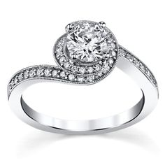 14K White Gold 7/8 Cttw. Diamond Engagement Ring From U Two Collection