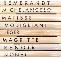 Beautiful typography for art books from famous classic artists Night At The Museum, Modigliani, Clary Fray, Thing 1, Magritte, Coffee Table Books, The Mortal Instruments, Lettering, Book Art