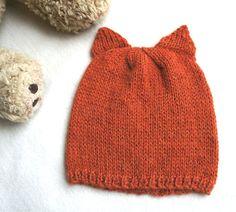 100% alpaca knitted fox hat orange knit hat whith by KsyuKnitting