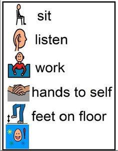 Visual Expectations - sit, listen, work, hands to self, feet on floor Life Skills Classroom, Classroom Behavior, Autism Classroom, Classroom Management, Autism Education, Preschool Special Education, Coping Skills, Social Skills, Visual Schedules