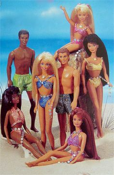 Sparkle Beach Barbie 1995. Aw we had the white brunette ken & black barbie.