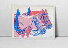 Team of horses handmade serigraph - horse art - horse screen print - horse wall decor - animal art - farm art - horse screenprint - beauty