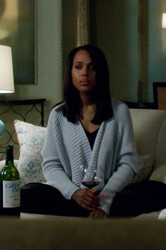 """The Limited"" Scandal Collection Drape Front Cardigan worn by Olivia Pope (Kerry Washington) on Scandal, Season 4."
