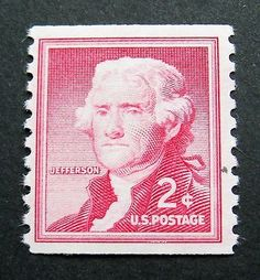 2c Thomas Jefferson, 1954. The Jefferson likeness was taken from a portrait by Gilbert Stuart, which now hangs in the Bowdoin College Museum of Fine Arts. At time of issue, the postcard rate was two cents, which helped to give it the most remarkable on-sale life of any US stamp. It was discontinued in 1984.
